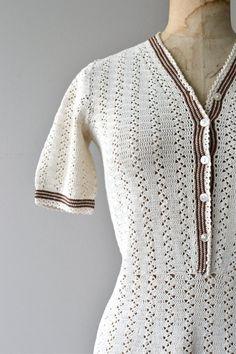 Radka knit dress vintage 1930s crochet dress 30s by DearGolden
