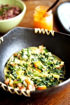Gambian spinach and peanut sauce over rice