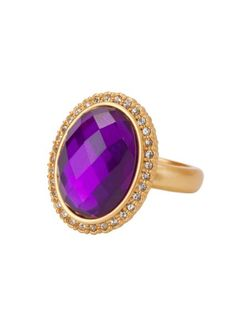 CORSICA RING AMETHYST CRYSTAL GOLD FINISH SIZE 6
