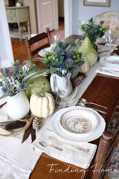 Very pretty for the dining room.  Change up embellishments to take the idea year-round, but keep the colors.