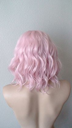 Beach wavy hairstyle wig. Pastel light pink color wig. by kekeshop