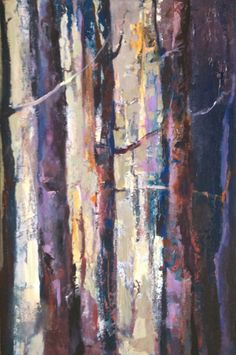 """Contemporary Abstract Landscape, Aspen Tree Painting """"Forest Light"""" by Intuitive Artist Joan Fullerton"""