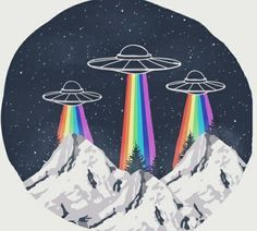 รูปภาพ alien, rainbow, and ufo Illustrations, Illustration Art, Landscape Illustration, Les Aliens, Posca Art, Oeuvre D'art, Constellations, Art Inspo, Art Drawings