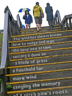 "All sorts of ideas for public stairs in Cincinnati. How about a poem?   ""Climbing the Poem -  by Lew Holzman, Ipswich, Mass"""