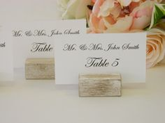White Distressed Rustic Wood Place Card Holders
