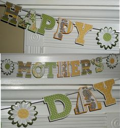 Happy Mother's Day Letter Banner  Daisy  READY by APaperPlayground, $9.00