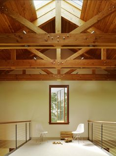 l-exposed ceiling and skylight