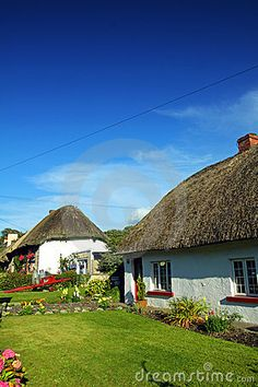 Old Style Irish Cottage Adare Co. Limerick on a sunny summers day