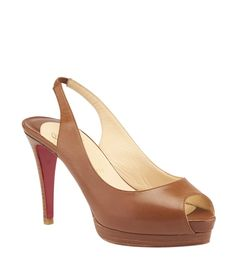 Christian Louboutin Cathay Brown Leather Slingback Pumps, Size 38