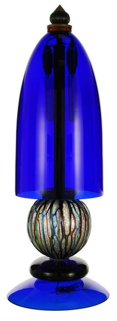 Dramatic Cobalt Blue Murano Glass Lamp, Signed