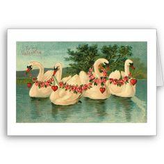 Vintage Valentine Swans Cards