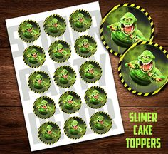 Ghostbusters Slimer, Cupcake Topper sticker, Toppers, Slimer Party, Birthday Party, Printable Cupcake Toppers, Halloween, Instant Download