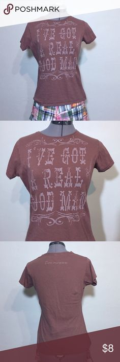 "Tim McGraw Concert T-shirt ""I've Got A Good Man"" Tim McGraw Concert T-shirt ""I've Got A Good Man"". Tag says M but fits and measures like a Small: 14"" across shoulders, 17"" across chest, 22"" long. 100% cotton. It is faded from washing. Great item for a fan. 528/25/060317 Tops Tees - Short Sleeve"
