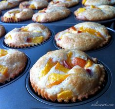 classic peach cobbler cupcakes with peach nectar reduction, recipe via milissweets.com