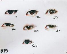 55 super ideas for eye sketch korean Drawing Techniques, Drawing Tips, Drawing Reference, Drawing Sketches, Bts Eyes, Photo Manga, Eye Sketch, Kpop Drawings, Pencil Art Drawings