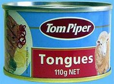 Canned Tongues.Nothing sounds more delicious than a fork full of canned sheep tongues! Gross Food, Weird Food, Scary Food, Canned Meat, Canned Foods, Milk Gravy, Bizarre, Exotic Food, People Eating