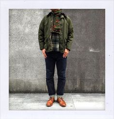 Today is also very cold in Tokyo. Barbour Boots, Barbour Wax Jacket, Barbour Mens, Grey Hair Men, Ivy League Style, Style Masculin, Men's Wardrobe, Casual Street Style, Jacket Style