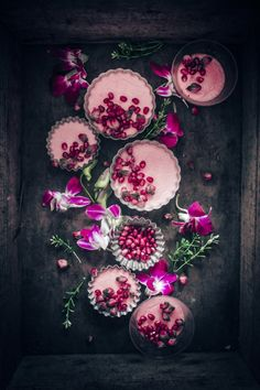 pots de créme with rose and pomegranate