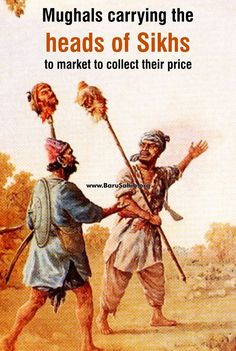 #BlessedtobeSikh Mughals carrying the heads of Sikhs to market to collect their price! Zakariya Khan was the Mughal governor of Lahore, now in Pakistan. He had taken part in the Mughal Empire's operations against the Sikh leader Banda Singh Bahadur.
