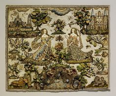 Two Ladies Personifying Taste and Touch, late 17th century, Silk satin worked with silk and metal thread, seed pearls, agate, carnelian, coral, rock crystal, glass beads, mica; detached buttonhole variations, tent, satin, long-and-short, seed, rococo, single knots, laid, and couching stitches