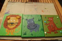 Tiere auf Leinwand mit Acryl und Pappmaché