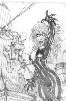 Spiderman & black cat by michael turner cartoon drawings com Comic Book Artists, Comic Book Characters, Comic Artist, Comic Character, Comic Books Art, Spiderman Black Cat, Spiderman Drawing, Black Cat Marvel, Arte Dc Comics