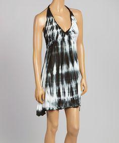 Look at this #zulilyfind! Black & White Tie-Dye Halter Dress by Raviya #zulilyfinds