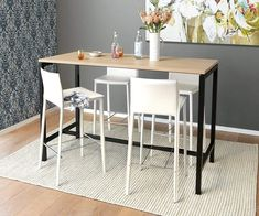Bring your nook or dining space up to a new level with clean, modern bar height styles like the Jensen table and Bastian bar stool. Bar Height Dining Table, Dining Table In Kitchen, Bar Kitchen, Table Seating, Test Kitchen, Kitchen Ideas, Contemporary Home Office Furniture, Multifunctional Furniture, Bar Table Design