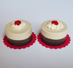 Red Rose Chocolate Mousse Dessert Treat Set of 2 - Perfect for 18 Inch American Girl® Dolls
