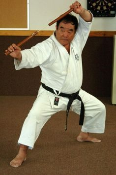 Karate Legend Master Fumio Demura With Nunchaku