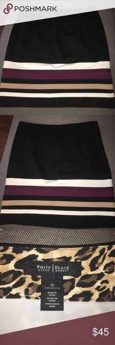 White House black market skirt White House black market skirt with side zipper. 4 small pleats in front. Fully lined. Multi colored stripes on bottom. White House Black Market Skirts Pencil