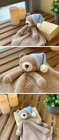 Sweet Sleepy Teddy Bear Lovey is a plush toy and security blanket all in one! T… - Amigurimi Ideen - - Sweet Sleepy Teddy Bear Lovey is a plush toy and security blanket all in one! T… - Amigurimi Ideen Crochet Teddy Bear Pattern, Crochet Lovey, Crochet Amigurumi, Baby Blanket Crochet, Crochet Dolls, Crochet Patterns, Crochet Clothes, Crochet Boarders, Bear Patterns