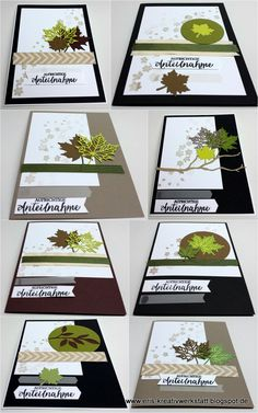 """Trauerkarten mit """"Jahr voller Farben"""" Mourning cards with """"Year full of colors"""" Stampin 'Up! www. Stampin Up Karten, Karten Diy, Stampin Up Cards, Thanksgiving Celebration, Filigree Design, Fall Cards, Sympathy Cards, Paper Cards, Stamping Up"""