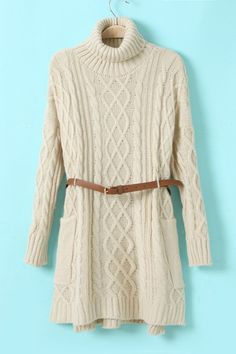 Autumn New Highneck Thick Long Sections Sweater With Belt