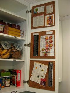 I like the idea of putting corkboard inside a pantry cabinet door. From Tackled Together: The Kitchen Cabinets | Young House Love
