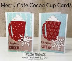 Coffee Cafe Hot Cocoa Mug Christmas cards featuring Wink of Stella glimmer on the snowflake and whipped cream. Stampin' Up! supplies available online - click shop online at www.pattystamps.com