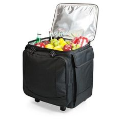 The Bodega is an insulated twelve-bottle wine tote/cooler on wheels. Made of polyester with a heavy-duty comfort grip top handle and two locking clasps to secure its contents, you can be assured the Bodega will protect and insulate your bottle beverages wherever you take it.