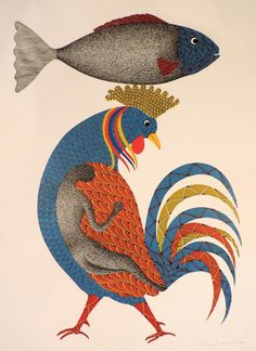 Fish and Cock (Story of Creation)  _  Venkat Raman Singh