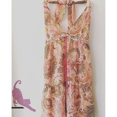 Brand-Sitting Pretty, size-medium-beautiful backless paisley free flow dress -$20.00 free shipping- link in bio           Payment via PayPal only. Purchases are shipped within 1-3 business days of payment via Japanese Standard Air Mail with no tracking unless notified to add tracking for additional cost. Air mail usually takes 7-10 days to arrive   Returns accepted-buyers responsible for return shipping