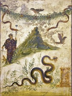 Fresco depicting Bacchus wearing a brunch of grapes and Mount Vesuvius(?), from the Lararium of the House of the Centenary, Pompeii, Naples Archaeological Museum Ancient Pompeii, Pompeii And Herculaneum, Pompeii Italy, Rome Antique, Art Antique, Sgraffito, Roman History, Art History, European History