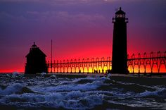 Grand Haven Boardwalk and  Lighthouse, Lake Michigan Shoreline...