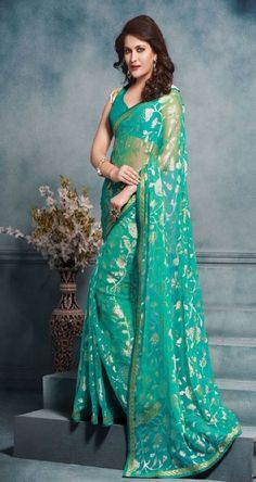 Check out the Green Brasso Georgette  Saree http://www.thefirstbazaar.com/product/tfb-sahiba-green-brasso-georgette-saree-ak211/ #women #fashion #india #saree #thefirstbazaar