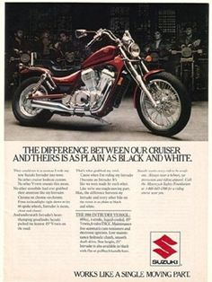 1986 Suzuki Intruder VS700GL Motorcycle Print Ad (24099)
