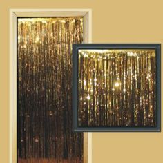 3 Foot by 8 Foot Gold Metallic Fringed Door Curtain from Windy City Novelties $5.38