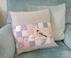 Patchwork and cross stitch cushion :: Sew Sweet Violet Patchwork Cushion, Patchwork Bags, Cushion Fabric, Unicorn Cushion, Cross Stitch Cushion, Sweet Violets, Handmade Cushions, Sewing Pillows, How To Make Pillows