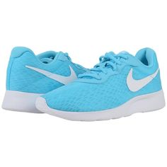 Nike Tanjun BR (Gamma Blue/White) Women's Shoes (89 CAD) ❤ liked on Polyvore featuring shoes, white lace up shoes, round cap, laced shoes, nike footwear and white shoes