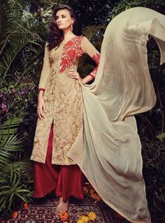 #Cearm and #Maroon #Palazzo #Suit Features on georgette fabric top with thread embroidery work and zari, Santoon bottom and chiffon fabric dupatta.