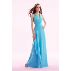 Blue Chiffon Long Bridesmaid Dresses V-Shaped Neckline Handbeading A-Line Halter Neck WPD01176