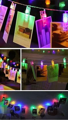 30 Multicolor LED Photo Clips String Lights | Easy Spring Room Decor Ideas for Teens | Genius Decor Ideas for the Home on a Budget