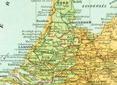 1897 Carte des Pays-Bas Planche Originale Nouveau Larousse illustré Grand Format Illustration 115 ans d'âge